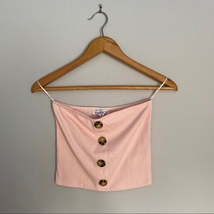 3/20$ SWS pink strapless crop top buttons
